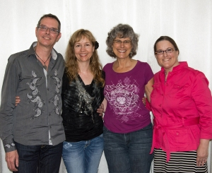 Left to right: Frans Stiene (Kathleen's & my Teacher, Joyce Leonard's Reiki Teacher), Kathleen Prasad (my Teacher, Joyce's Animal Reiki Teacher), Joyce Leonard (my Reiki Teacher), and Lori McClellan.